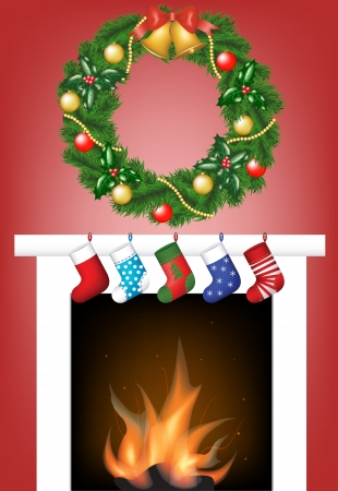 Christmas card with fire place, socks and garland Vector