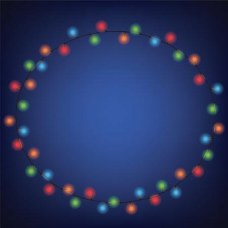 luminous garland frame on dark blue background Stock Vector - 16478116