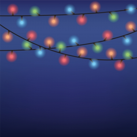 luminous garland on dark blue background