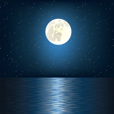 horizon reflection: Full moon, star and ocean