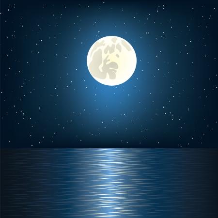 Volle maan, ster en de oceaan Vector Illustratie
