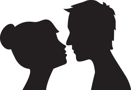 Silhouette of man and woman head profile   Couple kissing Stock Vector - 16478003
