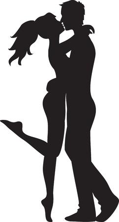 두 여자와 키스하는 남자의 실루엣 일러스트