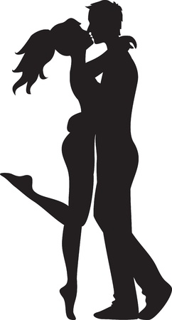 Silhouette of couple  Woman and man kissing Illustration