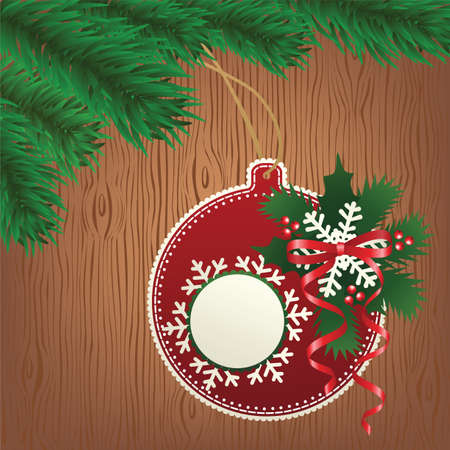 Christmas paper bauble on tree  Wood background Vector
