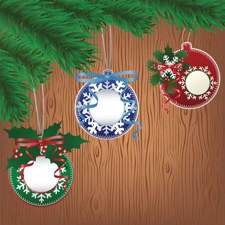 fiambres: Navidad chuchería de papel en el fondo de madera del árbol Vectores