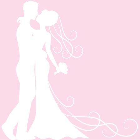 innamorati che si baciano: Matrimonio biglietto d'invito con la sposa e lo sposo silhouette Vettoriali