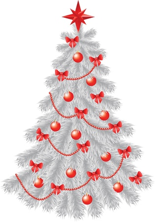 White christmas tree with  red decoration isolated on white Vector