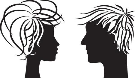 perfil de mujer rostro: Perfil silueta de cabezas de hombre y mujer Vectores