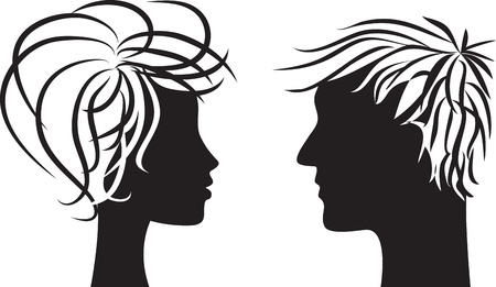 woman face profile: Profile silhouette of man and woman heads Illustration