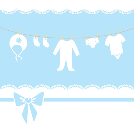 it girl: Blue baby boy shower, arrival, invitation or greeting card  Children