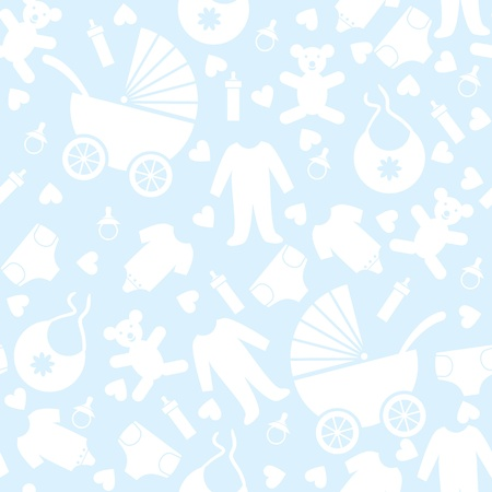 babies and children: Seamless Blue Baby Background for Baby Shower Illustration