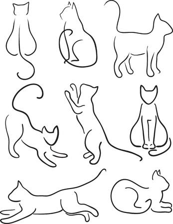 silueta de gato: Silueta del gato de los gatos Art Design Line Set