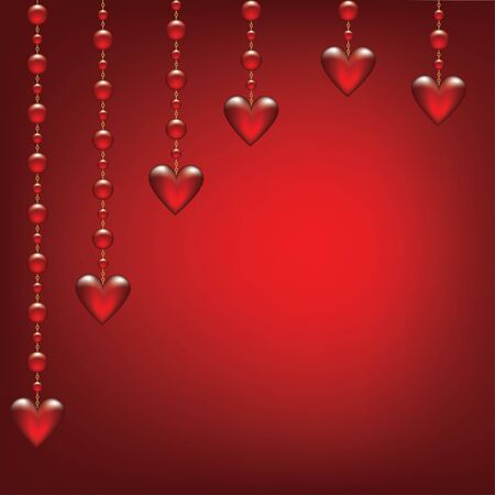 gold chain: Valentines day card with hanging transparent hearted on red background