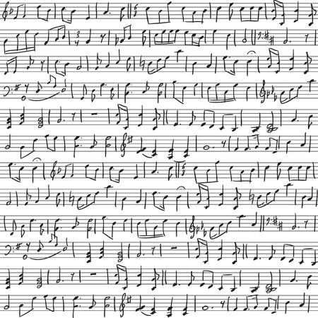 manuscrita: Fundo sem emenda com notas musicais escritas
