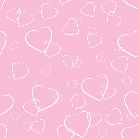 Seamless background with white hearts on pink background Stock Vector - 16703459