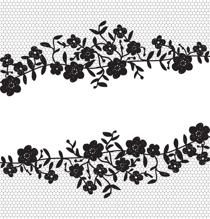 lace border: Invitation card with floral lace border Illustration