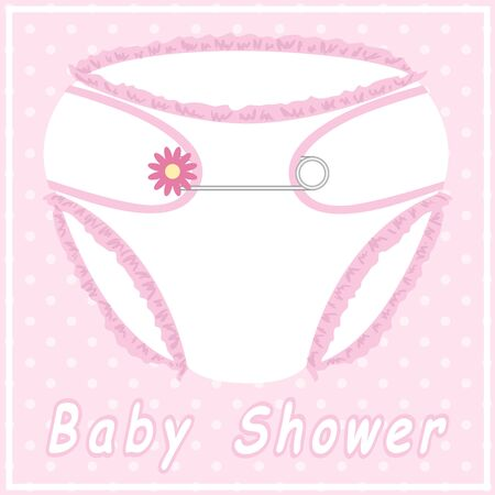 pampers: Baby shower card with nappy on polka dot background