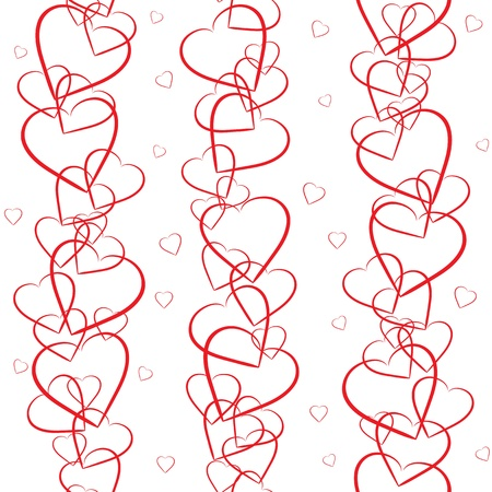 valentine s day: Seamless background with red hearts on white background