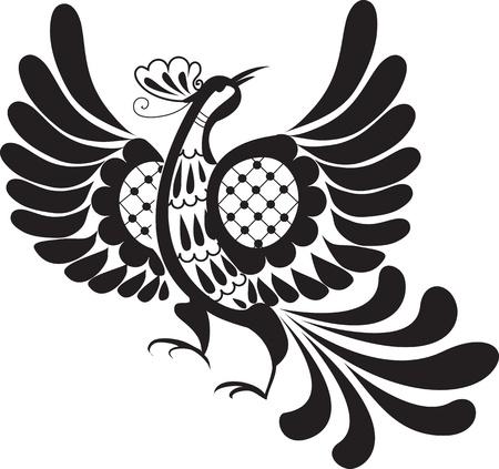 tatouage oiseau: Noir silhouette d�corative d'oiseau de paradis