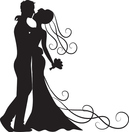 Black silhouette of kissing groom and bride Vector