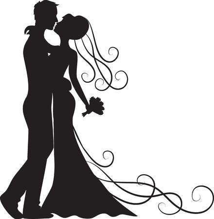 braut und bräutigam: Schwarze Silhouette k�ssen Braut und Br�utigam