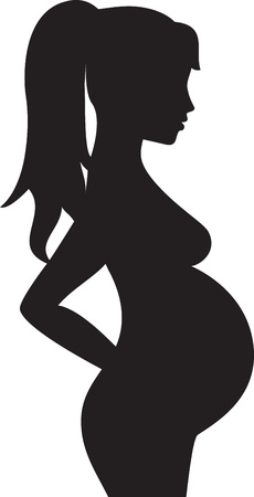 black pregnant woman: Silhouette of the pregnant woman Illustration