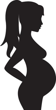 por nascer: Silhueta da mulher gr�vida Ilustração