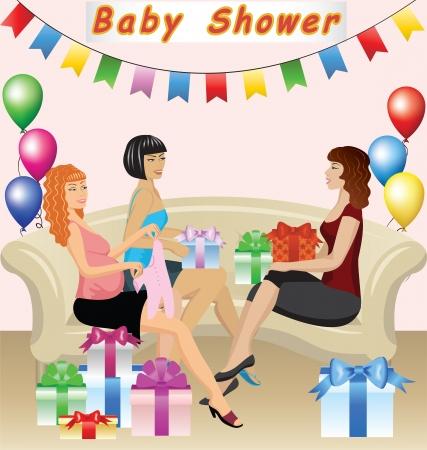 frau dusche: Frauen mit Geschenken feiern Baby Shower Illustration