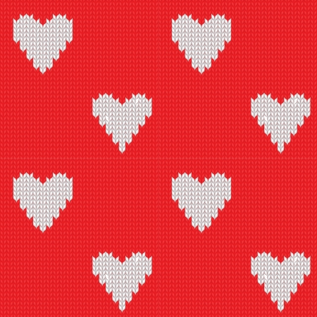 wool texture: Seamless knitted background with hearts