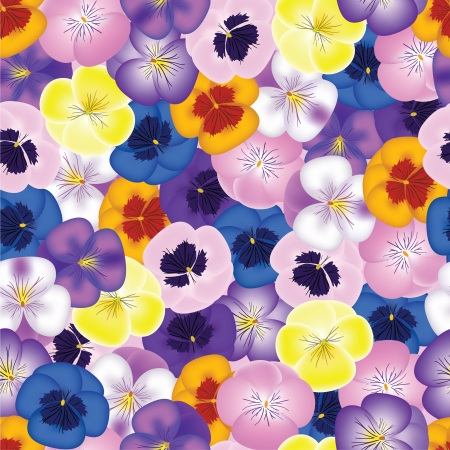 Seamless background with pansies Vector