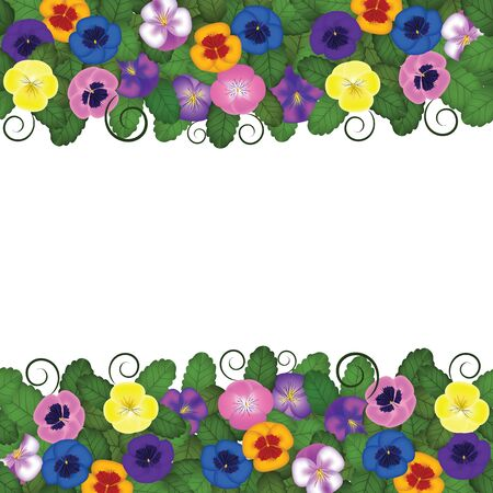 pansies horizontal seamless border Vector