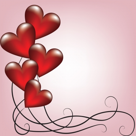 Greeting valentines card with balloons shaped heart