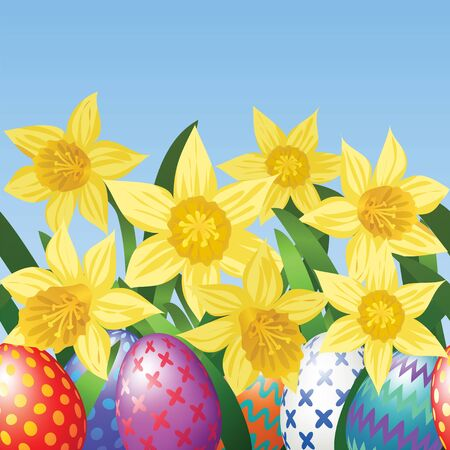 Easter eggs on meadow with daffodils Vector