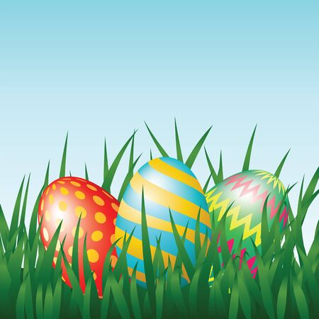 Greeting card with easter eggs on meadow Stock Vector - 17104662