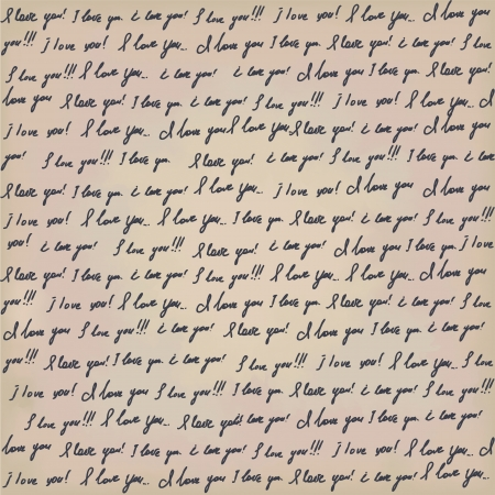 love confession: Seamless Valentines background with hanwritting text on old paper  I love you