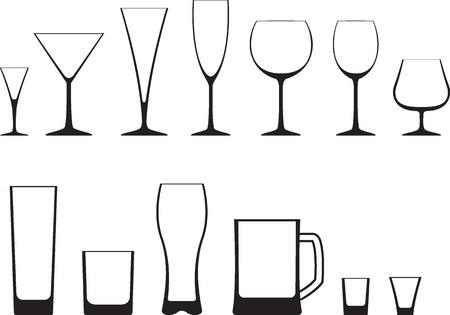 likeur: Set van glazen icoon Stock Illustratie