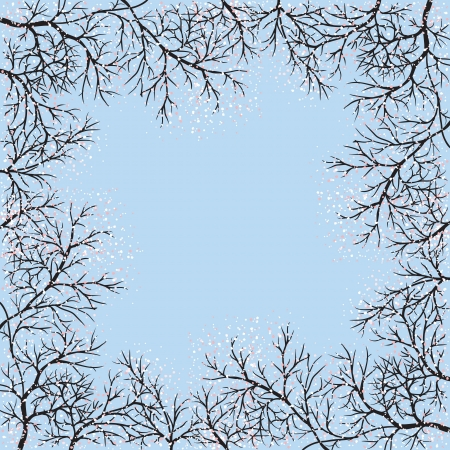 Blooming trees frame and blue sky Vector