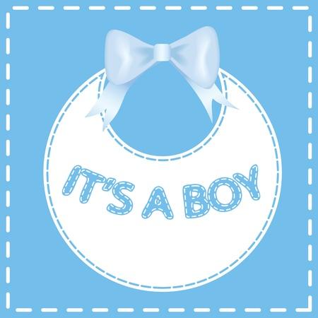 bib: Baby shower invitation card  It s a boy