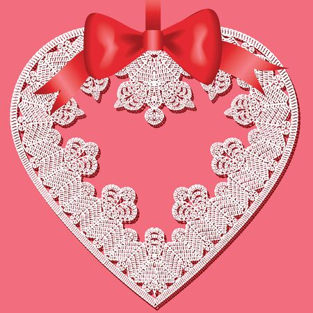 Valentines greeting card with lace heart Vector