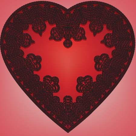 Valentines greeting card with lace heart Stock Vector - 17311267