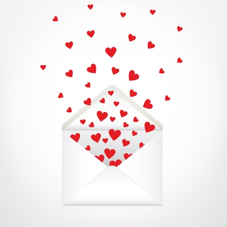 open envelope and hearts  Love letter