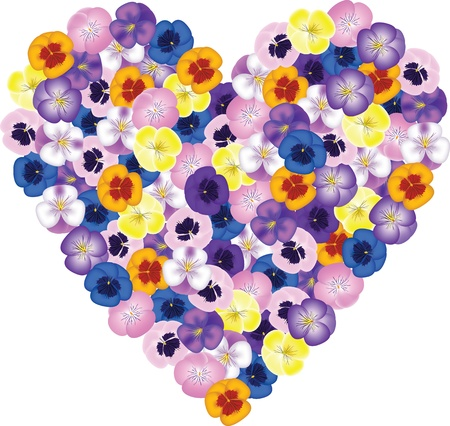 Pansies flower bouquet shaped heart Vector