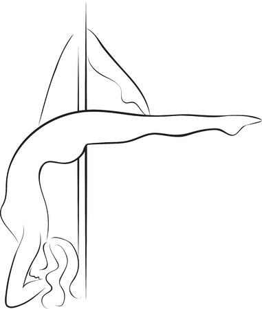 pole dancing: Silhouette de femme danseuse de p�le Illustration