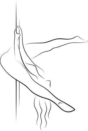 pole dance: Pole dancer woman silhouette  Chopper or basic invertion straddle Illustration