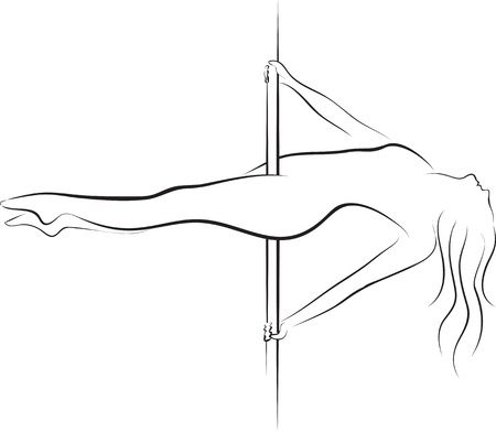 club dancer: Pole dancer woman silhouette