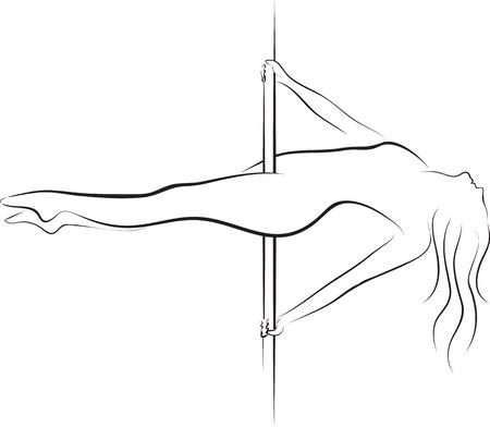 cabaret: Silhouette de femme danseuse de p�le Illustration
