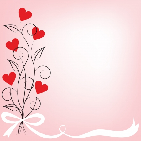 amor: Valentine card with bouquet of flowers shaped heart