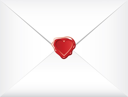 post box: wax shaped heart sealed envelopes Illustration