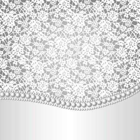 silk fabric: plantilla para la boda, invitaci�n o tarjeta de felicitaci�n con fondo de encaje y un collar de perlas